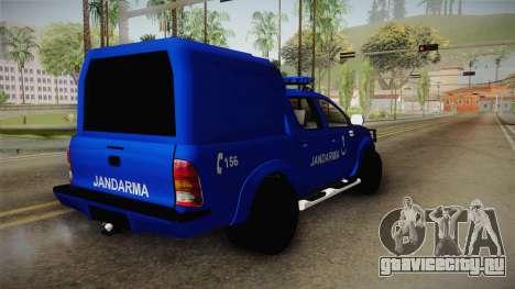 Toyota Hilux Turkish Gendarmerie Vehicle для GTA San Andreas вид сзади слева