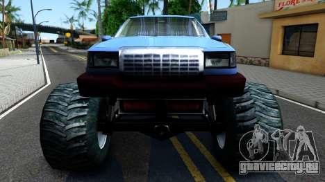 Stretch Monster Truck для GTA San Andreas вид изнутри