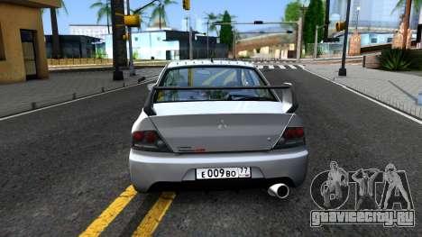 Mitsubishi Lancer Evolution IX для GTA San Andreas вид сзади слева