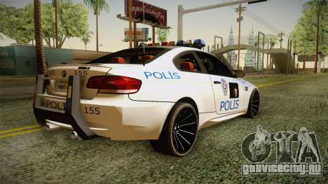 BMW M3 Turkish Police для GTA San Andreas вид слева