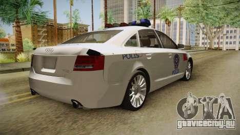 Audi A6 Turkish Police для GTA San Andreas вид сзади слева