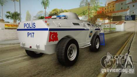 Turkish Police APC with Water Cannon для GTA San Andreas вид сзади слева