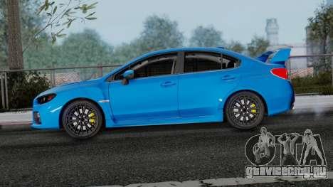 Subaru WRX STi 2017 для GTA San Andreas вид сзади слева
