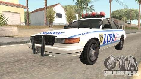 GTA 4 Police Stanier для GTA San Andreas вид сзади слева