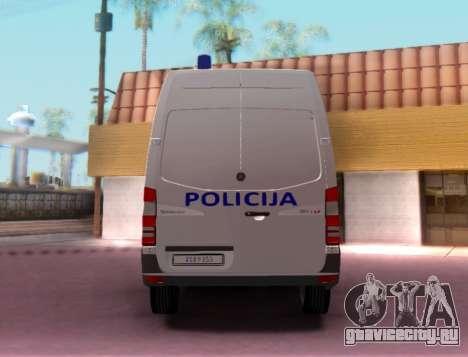 Mercedes-Benz Sprinter Croatian Police Van для GTA San Andreas вид справа