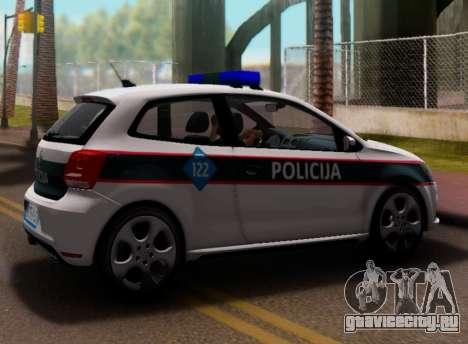 Volkswagen Polo GTI BIH Police Car для GTA San Andreas вид сзади