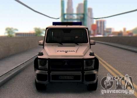 Мерседес-Benz G65 AMG в Биг полицейский автомоби для GTA San Andreas вид изнутри