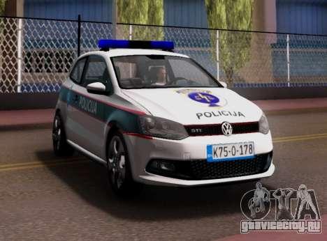 Volkswagen Polo GTI BIH Police Car для GTA San Andreas вид сбоку