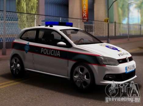 Volkswagen Polo GTI BIH Police Car для GTA San Andreas вид изнутри