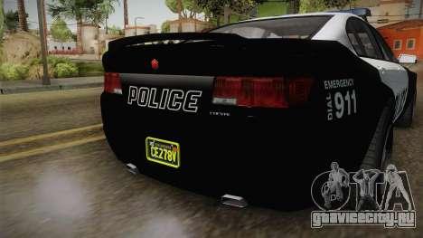 GTA 5 Cheval Fugitive Police для GTA San Andreas вид сзади