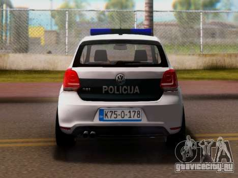 Volkswagen Polo GTI BIH Police Car для GTA San Andreas вид справа