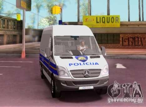 Mercedes-Benz Sprinter Croatian Police Van для GTA San Andreas вид сзади слева