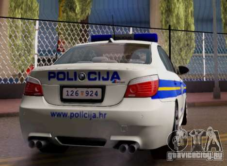 BMW M5 Croatian Police Car для GTA San Andreas вид справа