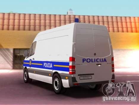 Mercedes-Benz Sprinter Croatian Police Van для GTA San Andreas вид слева