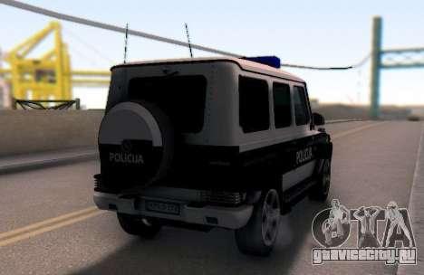 Мерседес-Benz G65 AMG в Биг полицейский автомоби для GTA San Andreas вид справа