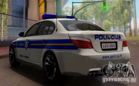 BMW M5 Croatian Police Car для GTA San Andreas вид изнутри