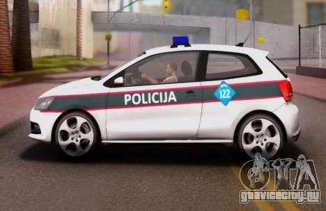 Volkswagen Polo GTI BIH Police Car для GTA San Andreas вид слева