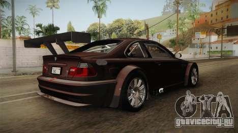 BMW M3 E46 2005 NFS: MW Livery для GTA San Andreas вид сзади слева