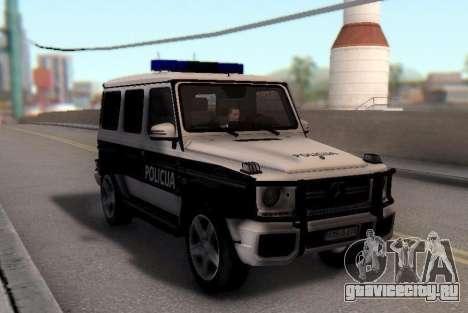 Мерседес-Benz G65 AMG в Биг полицейский автомоби для GTA San Andreas вид сзади