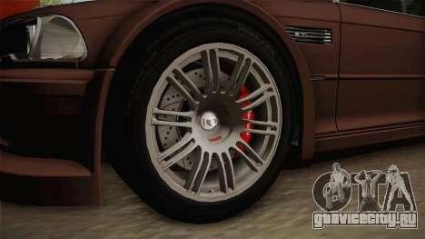 BMW M3 E46 2005 NFS: MW Livery для GTA San Andreas вид сзади