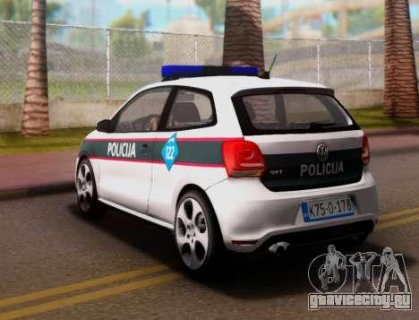 Volkswagen Polo GTI BIH Police Car для GTA San Andreas вид сзади слева
