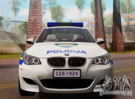 BMW M5 Croatian Police Car для GTA San Andreas вид сверху