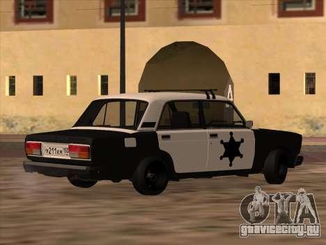 ВАЗ 2107 Шериф для GTA San Andreas вид слева