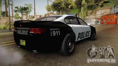 GTA 5 Cheval Fugitive Police для GTA San Andreas вид сзади слева