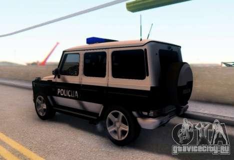 Мерседес-Benz G65 AMG в Биг полицейский автомоби для GTA San Andreas вид сзади слева