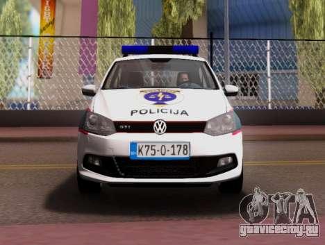 Volkswagen Polo GTI BIH Police Car для GTA San Andreas вид сверху