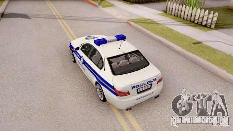BMW M5 E60 Croatian Police Car для GTA San Andreas вид сзади