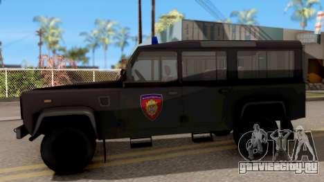 Land Rover Defender Žandarmerija для GTA San Andreas вид слева