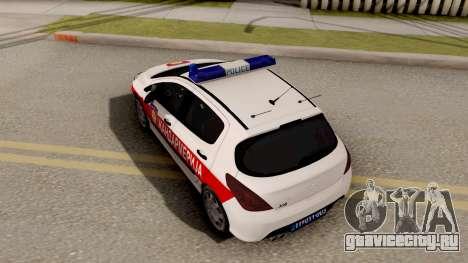 Peugeot 308 Žandarmerija для GTA San Andreas вид сзади