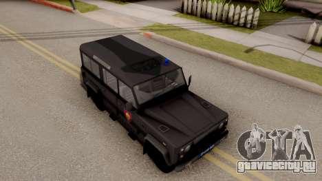 Land Rover Defender Žandarmerija для GTA San Andreas вид справа