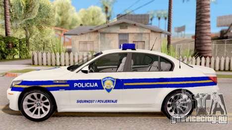 BMW M5 E60 Croatian Police Car для GTA San Andreas вид слева