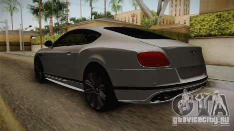 Bentley Continental GT Speed 2016 для GTA San Andreas вид сзади слева