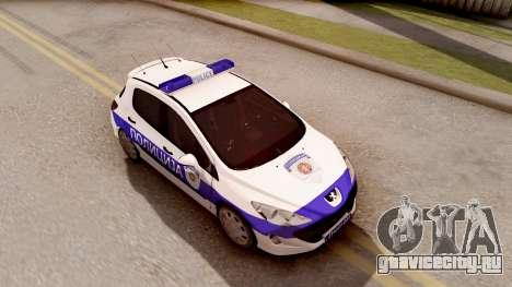 Peugeot 308 Policija для GTA San Andreas вид справа