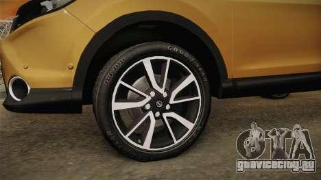 Nissan Qashqai 2016 HQLM для GTA San Andreas вид сзади