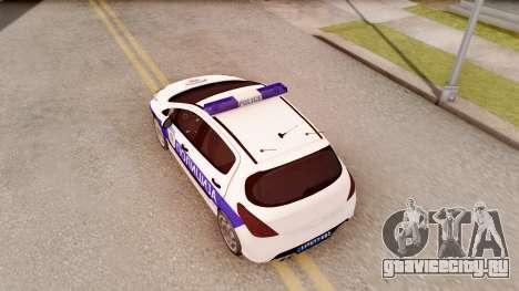 Peugeot 308 Policija для GTA San Andreas вид сзади