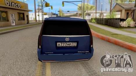 Cadillac Escalade Long Platinum 2016 для GTA San Andreas вид сзади слева