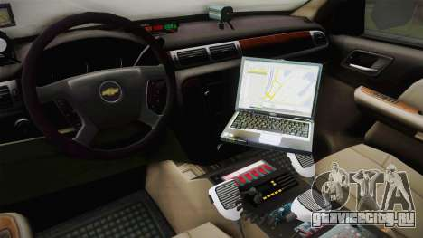 Chevrolet Suburban 2009 Flashpoint для GTA San Andreas вид сзади