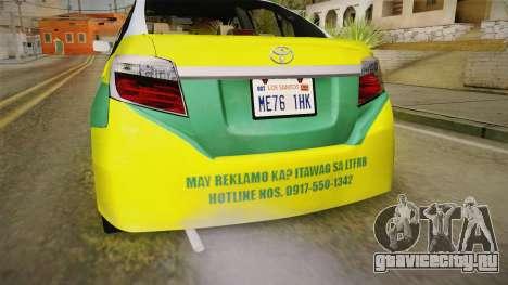 Toyota Vios Sturdy Philippine Taxi 2014 для GTA San Andreas вид снизу