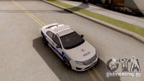 Ford Fusion 2011 Turkish Police для GTA San Andreas вид справа