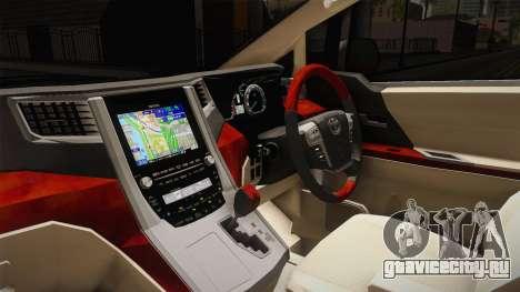 Toyota Alphard 3.5G 2015 v2 для GTA San Andreas вид изнутри
