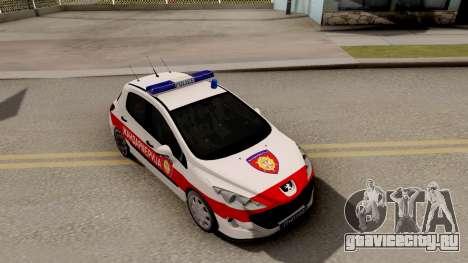 Peugeot 308 Žandarmerija для GTA San Andreas вид справа