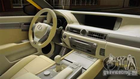 Lexus GS350 F Sport IV Slammed 2013 для GTA San Andreas вид изнутри