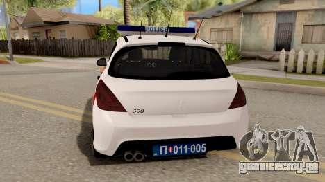 Peugeot 308 Žandarmerija для GTA San Andreas вид сзади слева
