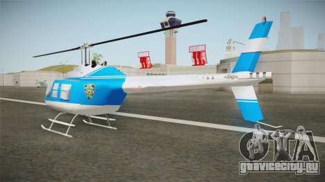 Bell 206 NYPD Helicopter для GTA San Andreas вид сзади слева