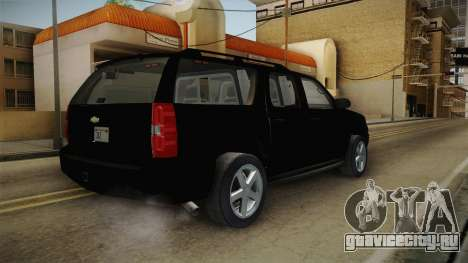 Chevrolet Suburban 2009 Flashpoint для GTA San Andreas вид сзади слева