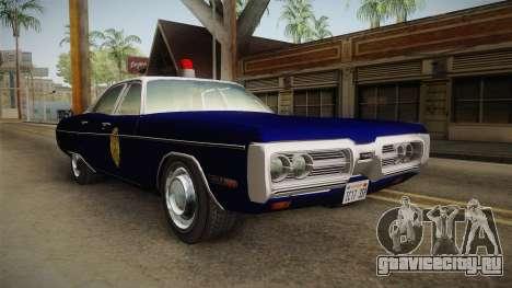 Plymouth Fury 1969 Kansas State Police для GTA San Andreas вид справа
